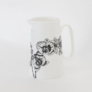 Fine Bone China Orchid Jug
