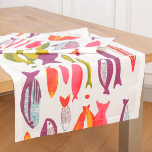Vibrant Fish Colourful Table Runner - kitchen