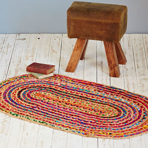 Multicoloured Jute And Cotton Oval Rug