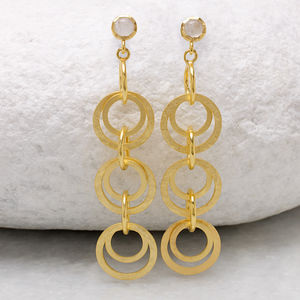 18ct Gold Vermeil Boho Circle Drop Earrings - the halo effect