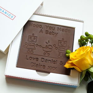 Personalised Congratulations New Baby Chocolate Card - novelty chocolates