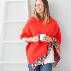 Coral Knitted Lambswool Poncho - women's fashion