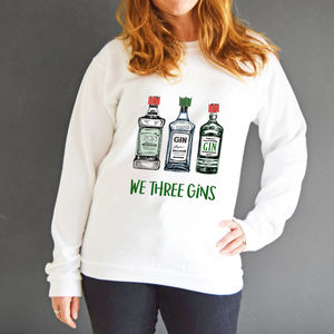 'We Three Gins' Unisex Christmas Jumper - christmas jumpers