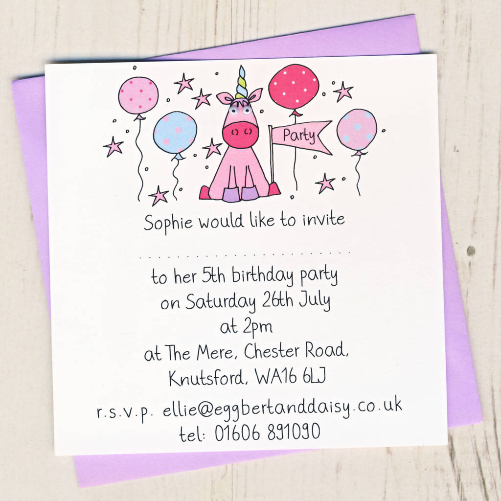 personalised unicorn party invitation pack by eggbert