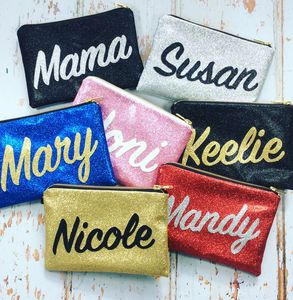 Personalised Name Glitter Clutch Bag Gift - gifts for her