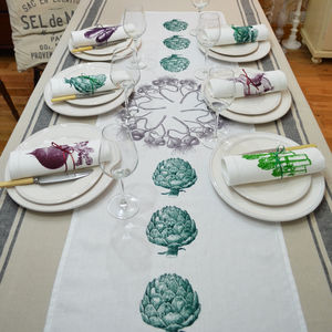 Artichoke And Garlic Linen Table Runner - table linen