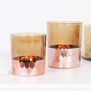 Beaten Copper Candle Jars - table decorations