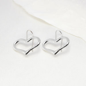 Big Open Heart Sterling Silver Earrings