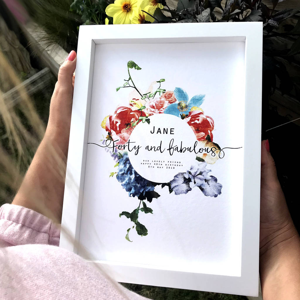 Personalised 40 And Fabulous Birthday Print