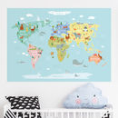 World Map With Animals Peel And Stick Poster Sticker