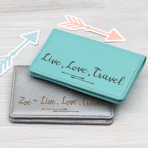 Personalised Leather Credit And Travel Card Holder