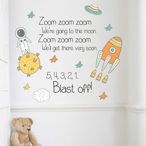 Children's Space Zoom Zoom Wall Sticker