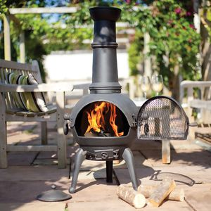 Large Cast Iron And Steel Chimnea - fire pits & outdoor heating