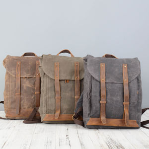 Leather Straps Waxed Canvas Backpack