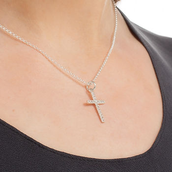 Silver Cross necklace by Lily Charmed
