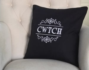 'CWTCH' Embroidered Cushion - bedroom