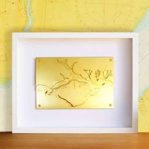 3D Nautical Brass Chart Of Portsmouth And The Solent - canvas prints & art