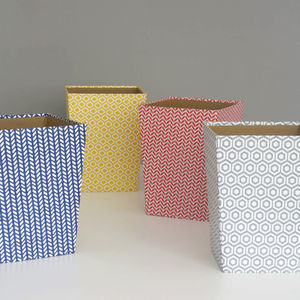 Recycled Geometric Print Waste Paper Bin Large - wastepaper bins