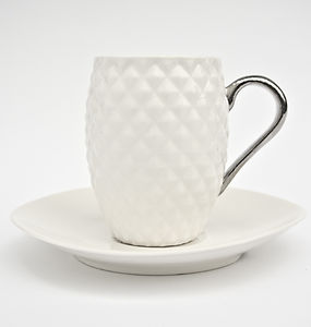 Coffee Cup With Silver Handle