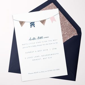 Hello Little One Pink Baby Shower Invitations