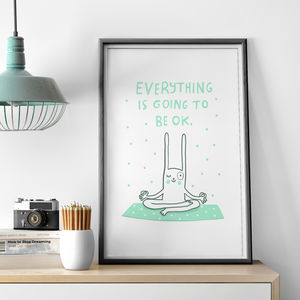 'Everything Will Be Ok Yoga Rabbit' Print