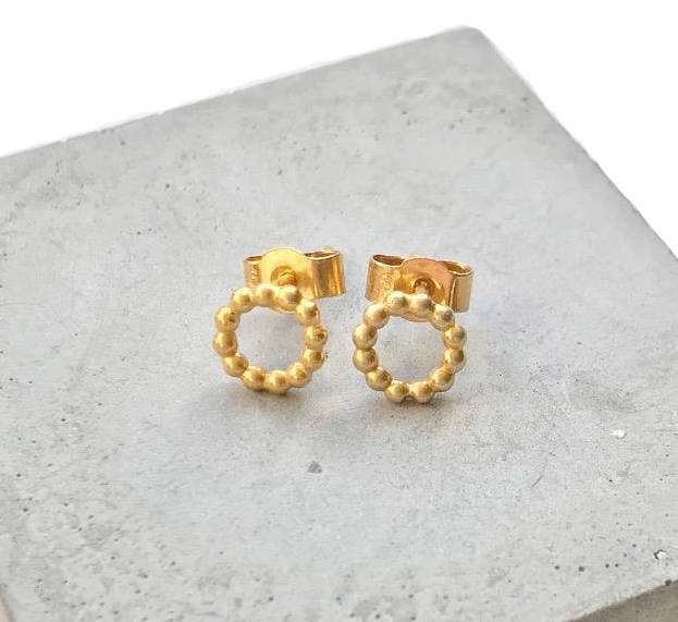 Small Beaded Circle Studs In 18ct Gold Vermeil