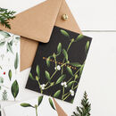 Black Mistletoe 'Merry Christmas' Card, Copper Foil