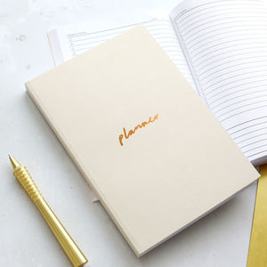 Off White And Copper A5 Planner - 2018 calendars & planners