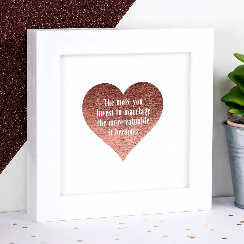 Wedding Gift Framed Rose Gold Foil Heart Print