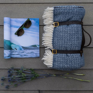 Blue Windmill Wool Picnic Blanket With Leather Straps