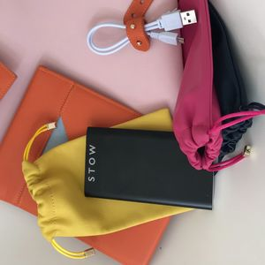 Bright Leather Pouch For Glasses, Tech And Cash