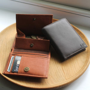 Personalised Mens Leather Wallet With Coin Pocket - accessories