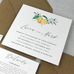 'The Lucia' Italian Tuscan Wedding Invitation