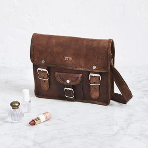 Mini Leather Satchel With Pocket