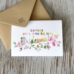 Personalised Will You Be My Bridesmaid Greeting Card