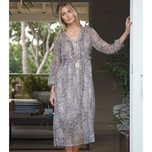 Boho Sheer Dress Lamu Print - dresses