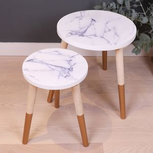 Marble Wooden Side Table
