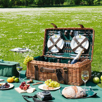 Béziers Forest Green Picnic Hamper With Leather Tag
