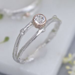 Handmade Silver And Rose Gold Woodland Twig Ring - precious gemstones