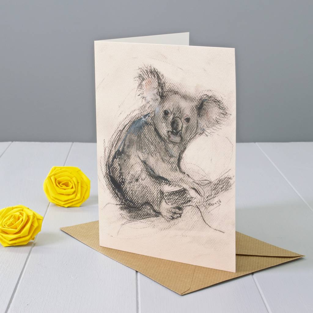 Koala Art And Design : Koala art greeting card by yellow rose design