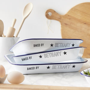 Enamel 'Baked By' Personalised Baking Tray - gifts for bakers