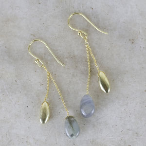 Gold And Labradorite Drop Earrings - gold