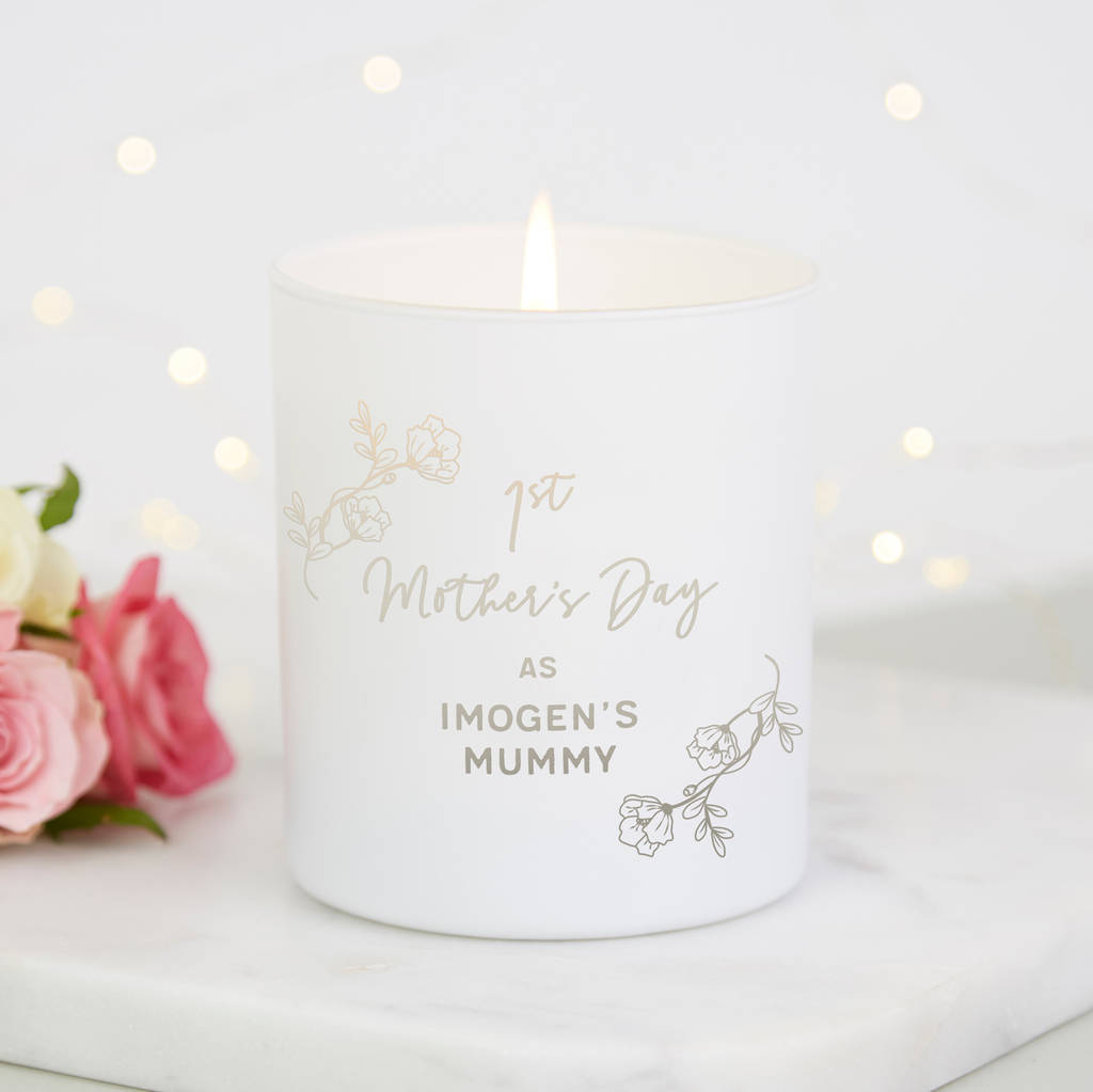 1st mother s day gift personalised candle by norma dorothy