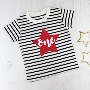 First Birthday Breton Stripe T Shirt