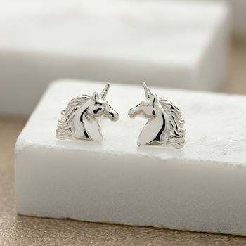 Sterling Silver Unicorn Stud Earrings by Lily Charmed