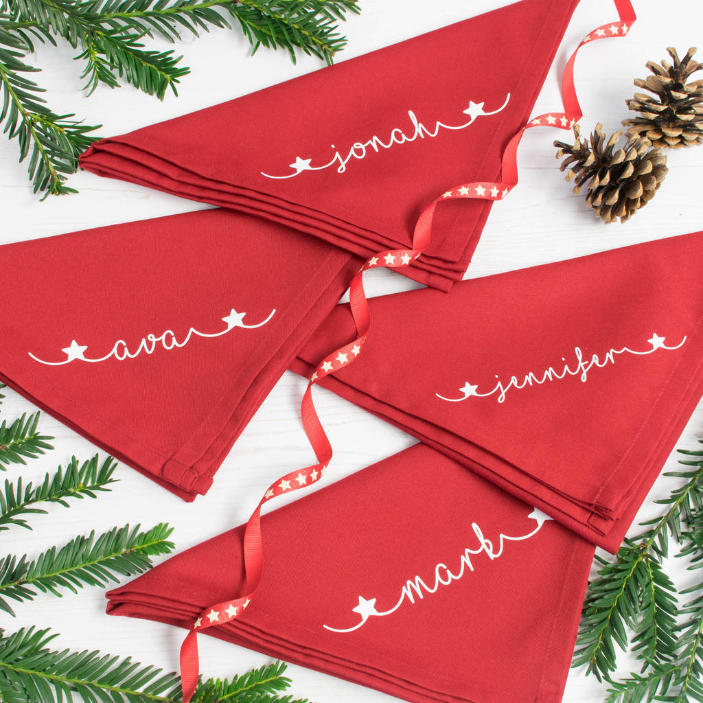 Christmas Napkins.Personalised Christmas Napkins Set