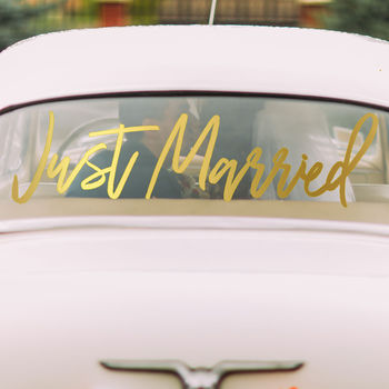 Rose Gold 'Just Married' Window Sticker