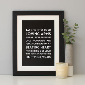 Personalised Song Lyrics Print - 1st anniversary: paper