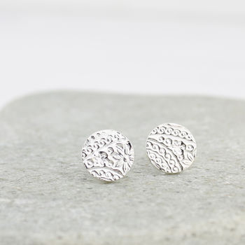 Sterling Silver Textured Circle Studs