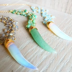 Gemstone Tusk Necklace